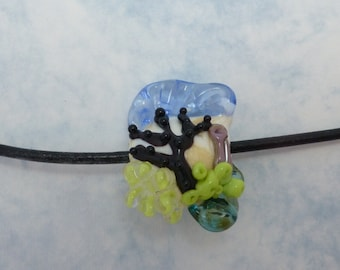 Coral Reef Glass Pendant with Leather Cord