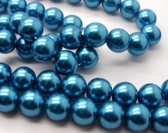 50 nacre10 mm electric blue glass 10 mm beads