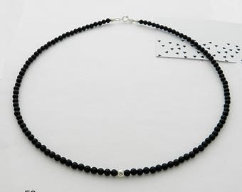 Black Onyx stone and silver ball necklace