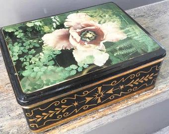 "Big vintage French colored tin box ""Big Flower"", biscuit or sugar metallic rectangle box"