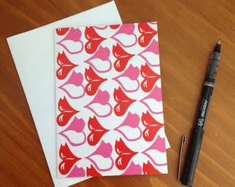 Pink and Red Kissing Lips Greeting Card (blank)