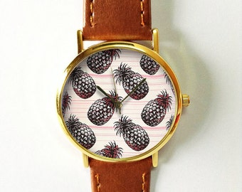 Tropical Fruit Pineapple Watch, Vintage Style Leather Watch, Women Watches, Boyfriend Watch, Black Pink Freeforme 2016, Summer Jewelry Gifts