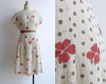 Vintage 80's 'Petals & Polka Dots' Cream Floral Dress S