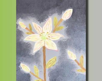 Oil painting portrait fleur de lis on linen canvas