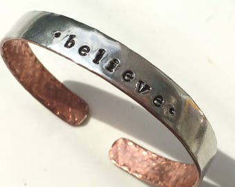 BELIEVE Bracelet, Inspirational Jewelry, Forged Copper Cuff Bracelet with Pewter Overlay, Mixed Metal Word Bracelet, Kyleemae Designs