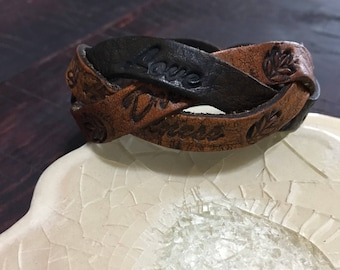 Braided Hand tooled Leather Bracelet