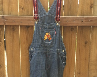 Adorable Winnie The Pooh Overalls in Blue and White Grid Print Size Large