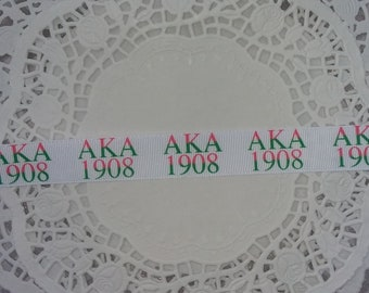 AKA sorority inspired pink & green 7/8 grosgrain ribbon 22mm 1yrd greek delta sigma theta