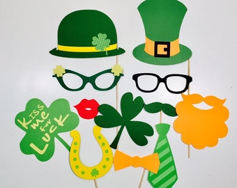 St. Patrick's Day Party Photobooth Props Holiday Photo Booth Props Set of 12