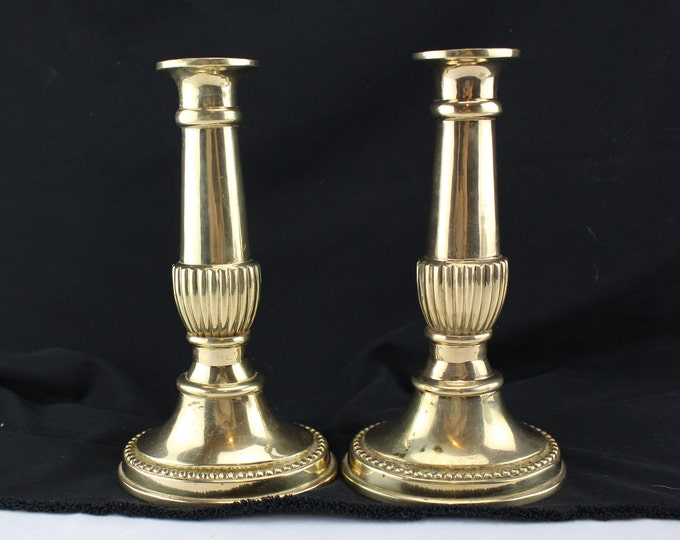 Vintage Pair 20th Century Georgian Revival Molded Brass Candlestick Holders Heavy-Candle Stick Holder