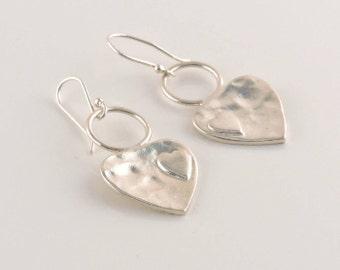 Sterling Silver Heart On Heart Hammered Heart Earrings