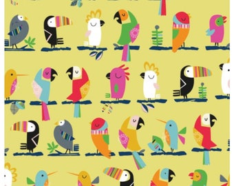 Club Tropicana - Lime Birds Parrots by Dashwood Studio for Sewing, Dressmaking & Quilting