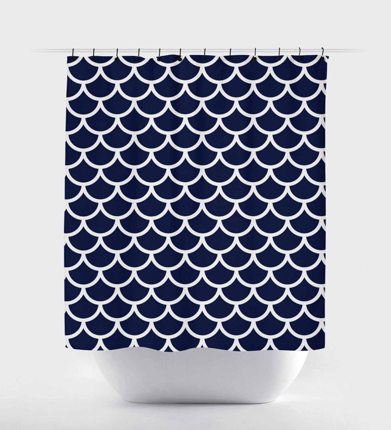 Blue and white fabric shower curtain high quality shower