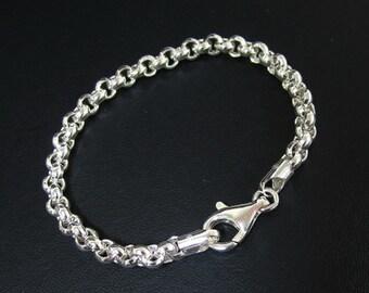 10 inch 925 Sterling Silver Rolo Bracelet, Silver Round link Bracelet
