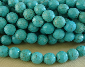50-Natural Turquoise  Faceted Round Beads  8mm (15.5 inch strand).