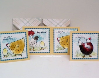 "Hey Chick Friend Notes...Set of (4) 3"" x 3"" note cards...4 handmade with designer paper envelopes...Stampin'Up! Stamps...blank inside!"