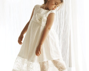 Baptism dress in offwhite or ivory linen fabric with a beautiful flower, baptism dress, baby dress, Handmade in Europe, flower girl dress