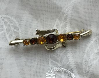 Vintage Crystal Rhinestone, Honey Amber Colour Pin Brooch