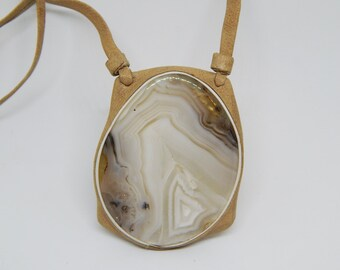 Mad river agate, leather Prndant  Mad river  agate, beige Leather pendant, Natural leather jewellery