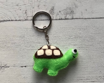 Tortoise - Handmade Felt Keyring, Bag Charm, Accessory or Hanging Decoration (H 4cm x W 5.5cm)