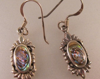Abalone Sterling Silver Drop Dangle Earrings Sterling Silver Vintage Jewelry Vintage Earrings Gift for Her Gift for Mom