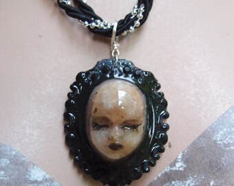 Gothic Victorian Style Doll Head Necklace - One Of A Kind Drowned Doll Head Necklace by Ugly Shyla - Unusual Jewelry - Mod Mourning Jewelry