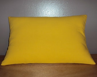 Solid Yellow Cotton Decorative Lumbar Pillow Cover - Several Sizes Available