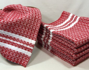Handwoven Snowflake Tea Towels in Red and White, Holiday Gift, Christmas