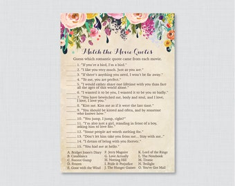 Movie Love Quote Match Game - Printable Floral Bridal Shower Movie Quote Game - Shabby Chic Garden Bridal Shower Game - 0002-A