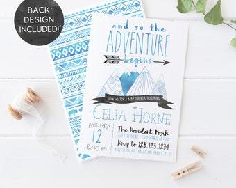 Adventure Baby Shower Invitation, Mountain, Arrow, Tribal, Wild, Boy, Printable Invites [472]