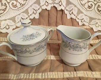 Mikasa Dresden Rose L9009 Creamer and Sugar Bowl with Lid
