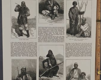 Natives of Dardistan and Kafiristan, Central Asia 1874. Ghilgiti, Cashmere Highlander, Chilasis, Balti. Large Antique Engraving, About 11x16