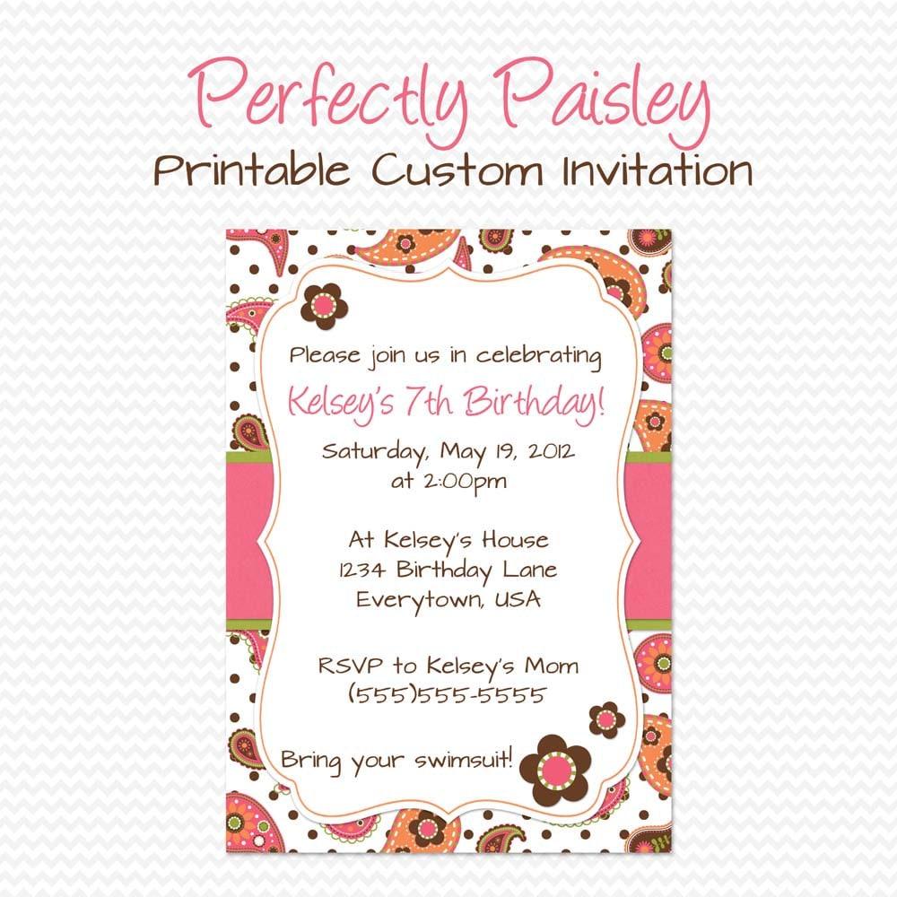Girly Paisley Birthday Party Invitation Summer Birthday