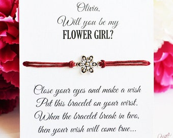 Flower Girl Proposal Will you be my flower girl Ask Flower Girl Flower Girl Gift Wish Bracelet Flower Girl Bracelet Bridal Party Gifts