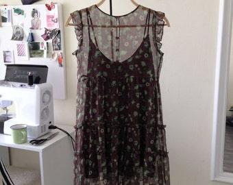 Brown&Green Silk Dress/Brown Silk Dress/Brown Summer Dress/Brown Romantic Dress/Brown Short Silk Dress/ Brown Silk-Chiffon Dress