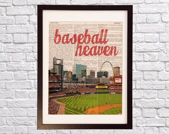 St. Louis Cardinals Dictionary Art Print - Baseball Heaven, Busch Stadium - Print on Vintage Dictionary Paper - Baseball Art - Gift For Him
