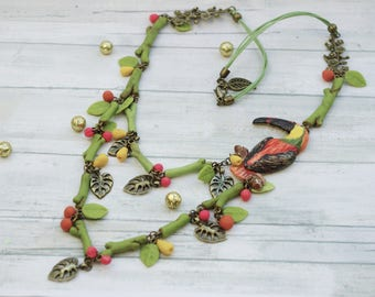 Exotic necklace, model unique, artisan, handmade, bird, hand molded of cold porcelain