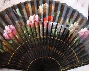 Spanish Hand Painted Fan, Vintage