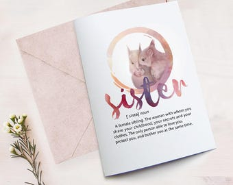 Funny Sister Birthday Card Printable, Card for Sister, Best Sister Card, Card from Sister, Printable Definition Sister, Squirrel Sisters Art