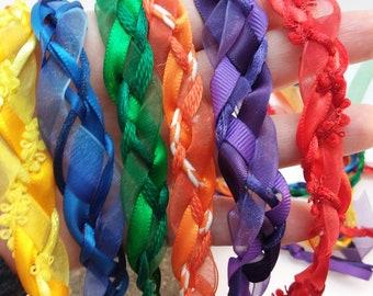 6 Wedding Handfasting Cord - Organza Rainbow red Orange yellow green blue purple