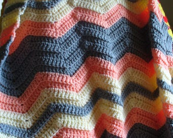 Gray and Peach Afghan