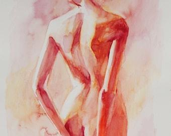 B.e.a. - Female Back in Soft Reds - Open Edition Fine Art Print