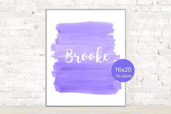 Purple Girls Poster with Custom Name, 12x16, 16x20,