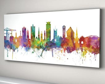 Plymouth Skyline Canvas, Plymouth Cityscape Canvas Art Print (3146)