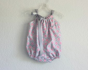 Baby Girls Pink and Grey Bubble Romper - Pink and Gray Sun Suit - Baby Girl Summer Clothes - Floral Romper - Size Nb, 3m, 6m, 9m, 12m or 18m