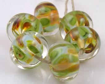 Oryon Encased SRA Lampwork Handmade Artisan Glass Donut/Round Beads Made to Order Set of 6 10x15mm