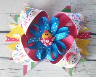 Big Easter Hair Bow - Easter Cute Chick Hair Bow - Easter Layered Boutique Hair Bow - Colorful Easter Hair Bow - Easter Hair Accessories