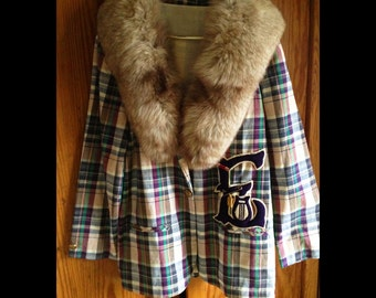 "Adelaide-Madras Vintage Jacket Fur Collar Vintage Letterman ""E"" Patch, Pins and Awards"