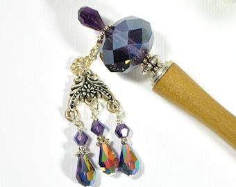 "Purple Hairstick Dangle Hair Stick Gypsy Hair Charm Japanese Hair Chopstick Handmade Hair Pin Purple Hair Bead - ""Rogue"""