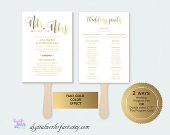 Gold Wedding Program Template Printable DIY Rustic, Wedding Program Printable, Ceremony Printable Template, Editable PDF Template,